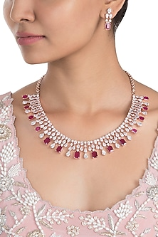 Rose Gold Plated Faux Ruby and Diamond Necklace Set by Aster