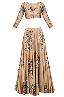 Beige and Gold Floral Sequins Embroidered Lehenga Set