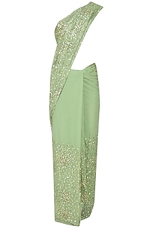 Mint Green Sequins Embroidered Saree and Blouse Set