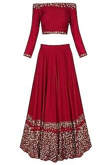 Red Floral Sequins Embroidered Lehenga Set