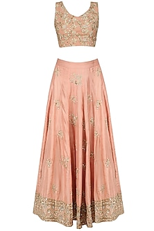 Peach Floral Embroidered Motifs Lehenga Set