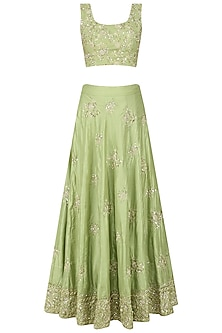 Mint Green Floral Embroidered Motifs Lehenga Set
