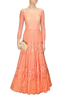 7b2b076efea16 Coral peach thread embroidered anarkali gown available only at ...