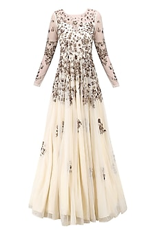 Off White and Antique Gold Floral Work Gown