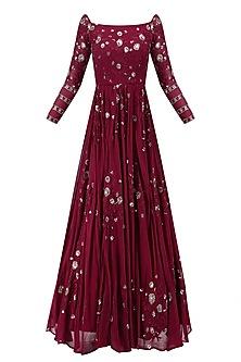 Dark Maroon Floral Work Off Shoulder Anarkali Gown