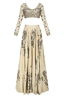 Off White and Gold Floral Sequins Work Lehenga Set