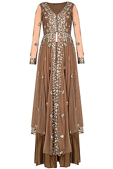Copper and Gold Sequinned Layered Sharara Set