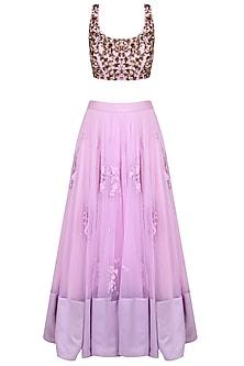 Lavender Sequins And Thread Flower Motifs Lehenga Set