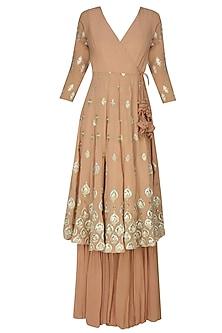 Peach And Gold Gota Flowers Angrakha Anarkali And Garara Pants Set
