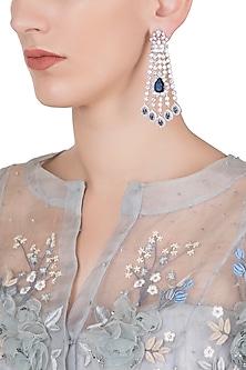 Silver plated diamond and sapphire dangler earrings