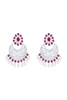Silver plated diamond and ruby chandbali earrings by Aster