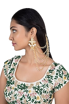 Gold plated faux kundan suspender earrings by Aster