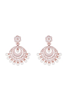 Silver plated faux diamond chandbali earrings by Aster