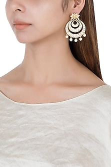 Gold plated kundan chandbali earrings