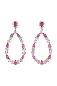 Rose gold plated faux diamond and ruby drop earrings by Aster