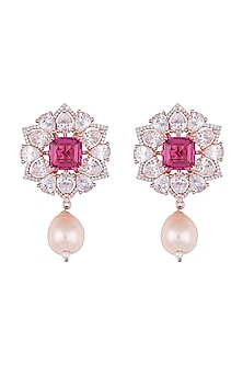 Silver plated faux diamond and ruby floral earrings by Aster