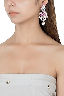 Silver plated faux diamond long floral earrings by Aster