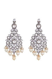 Black rhodium plated faux diamond earrings by Aster