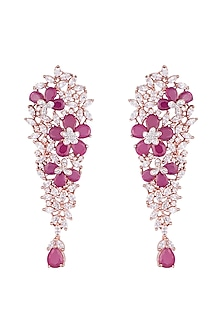 Silver plated faux diamond and ruby floral dangler earrings by Aster