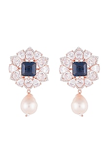 Silver plated faux diamond and sapphire earrings by Aster