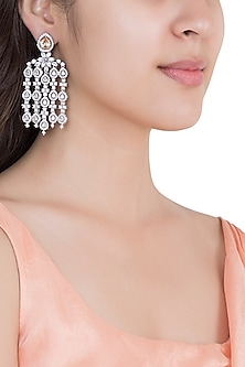 White Rhodium Plated Faux Diamond Chandelier Earrings