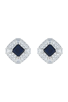 White Rhodium Plated Heirloom Blue Earrings by Aster