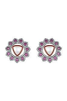 Black Rhodium Plated Faux Polki Sone Earrings by Aster