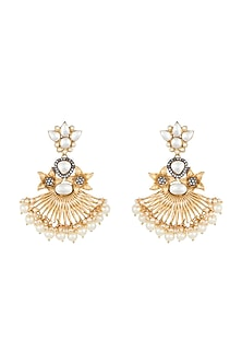 Yellow Rhodium Plated Faux Polki Long Earrings by Aster