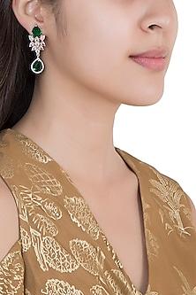 White Rhodium Plated Faux Diamond & Emerald Long Earrings