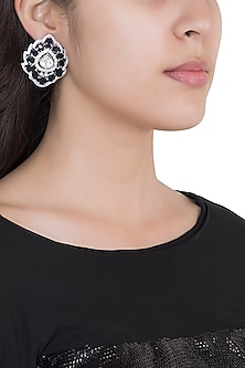 White Rhodium Plated Faux Polki & Sapphire Stud Earrings