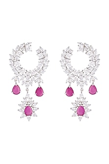 Silver plated diamond and ruby drop earrings by Aster