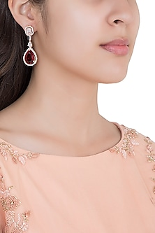 Rose Gold Rhodium Plated Faux Diamond and Ruby Earrings