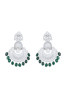 White Rhodium Plated Faux Diamonds Long Earrings by Aster