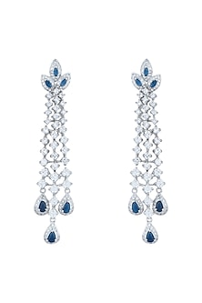White Rhodium Plated Faux Diamond & Sapphire Earrings by Aster