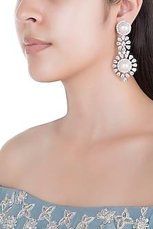 White Rhodium Plated Faux Diamond & Pearl Earrings