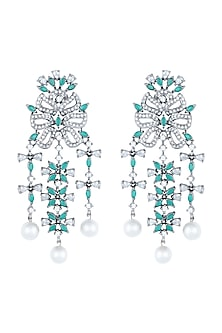 Black Rhodium Plated Faux Diamond & Emerald Earrings by Aster