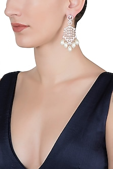 Silver plated diamond and pearl earrings
