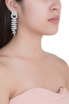 White Rhodium Plated Baguette Earrings