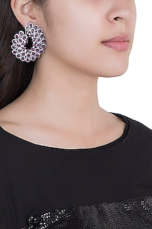 Black Rhodium Plated Faux Ruby Stud Earrings by Aster