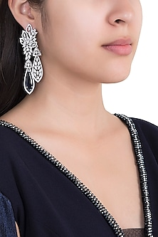 Silver Plated Faux Diamond & Sapphire Earrings