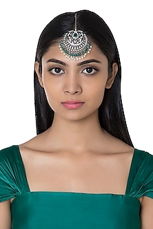 Silver Plated Faux Diamond & Green Pearl Maang Tikka