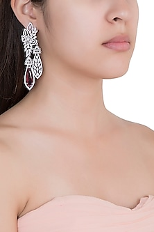Silver Plated Faux Diamond & Ruby Earrings