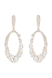 Rose Gold Plated Faux Diamonds Dangler Earrings by Aster