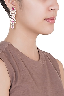 Rose Gold Plated Faux Diamond & Ruby Earrings by Aster