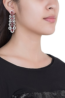 White Rhodium Plated Faux Ruby & Diamond Earrings by Aster