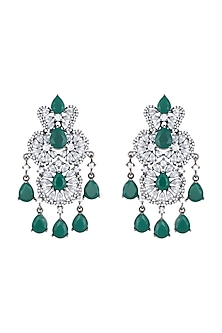 Black Rhodium Plated Faux Emerald & Diamond Dangler Earrings by Aster