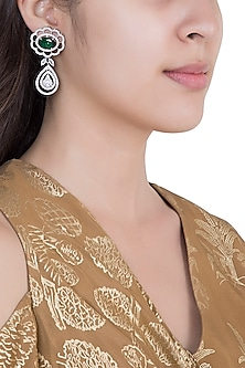 White Rhodium Plated Faux Emerald & Diamond Earrings