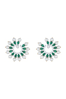 White Rhodium Plated Faux Diamond & Emerald Circular Earrings by Aster