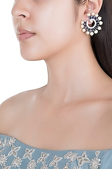 White Rhodium Plated Faux Diamond & Sapphire Circular Earrings by Aster