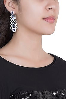 White Rhodium Plated Faux Sapphire & Diamond Dangler Earrings